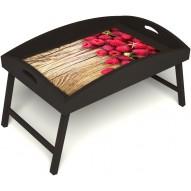 Столик для завтрака в постель «Ягода-малина» с высоким бортиком цвет венге