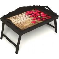 Столик для завтрака в постель «Ягода-малина» с 3-мя фигурными бортиками цвет венге