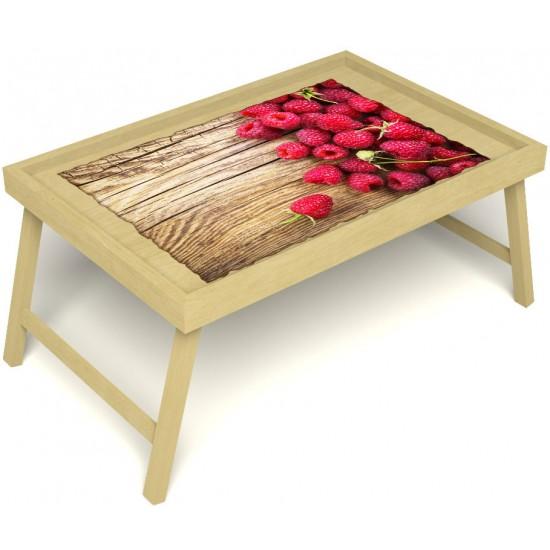Столик для завтрака в постель «Русская берёза», «Ягода-малина» без ручек цвет светлый