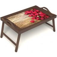 Столик для завтрака в постель «Русская берёза», «Ягода-малина» с ручками цвет орех