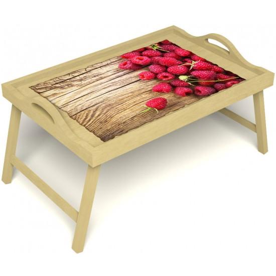 Столик для завтрака в постель «Русская берёза», «Ягода-малина» с ручками цвет светлый