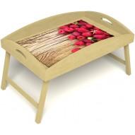 Столик для завтрака в постель «Русская берёза», «Ягода-малина» с высоким бортиком цвет светлый