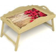 Столик для завтрака в постель «Русская берёза», «Ягода-малина» с фигурным бортиком цвет светлый