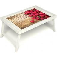 Столик для завтрака в постель «Ягода-малина» без ручек цвет белый