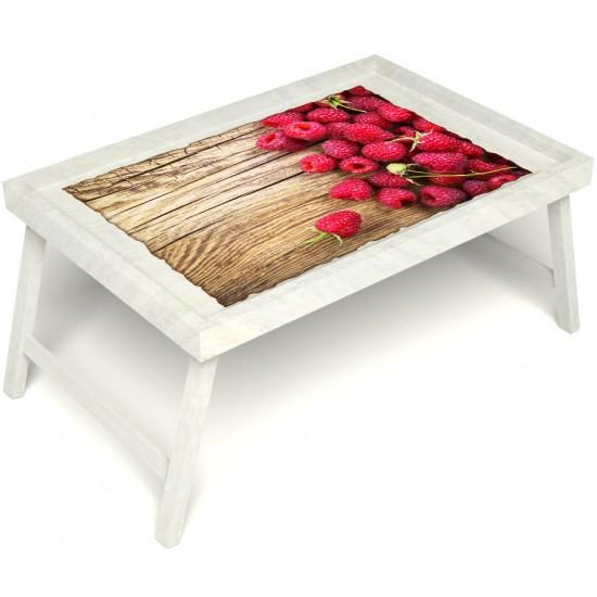 Столик для завтрака в постель «Русская берёза», «Ягода-малина» без ручек цвет белый