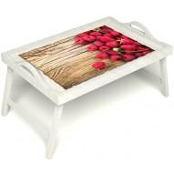 Столик для завтрака в постель «Ягода-малина» с ручками цвет белый