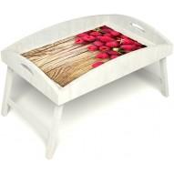 Столик для завтрака в постель «Ягода-малина» с высоким бортиком цвет белый