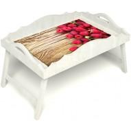 Столик для завтрака в постель «Русская берёза», «Ягода-малина» с фигурным бортиком цвет белый