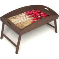 Столик для завтрака в постель «Русская берёза», «Ягода-малина» с высоким бортиком цвет орех