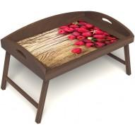 Столик для завтрака в постель «Ягода-малина» с 3-мя высокими бортиками цвет орех