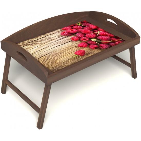Столик для завтрака в постель «Русская берёза», «Ягода-малина» с 3-мя высокими бортиками цвет орех