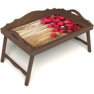 Столик для завтрака в постель «Русская берёза», «Ягода-малина» с 3-мя фигурными бортиками цвет орех