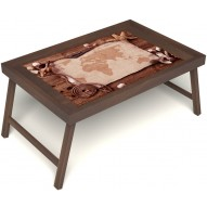 Столик для завтрака в постель «Карта» без ручек цвет орех