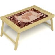 Столик для завтрака в постель «Карта» без ручек цвет светлый