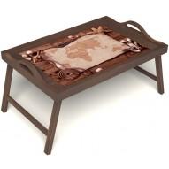 Столик для завтрака в постель «Карта» с ручками цвет орех