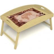 Столик для завтрака в постель «Русская берёза», «Карта» с высоким бортиком цвет светлый