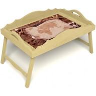 Столик для завтрака в постель «Русская берёза», «Карта» с фигурным бортиком цвет светлый