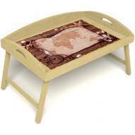 Столик для завтрака в постель «Русская берёза», «Карта» с 3-мя высокими бортиками цвет светлый