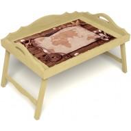 Столик для завтрака в постель «Русская берёза», «Карта» с 3-мя фигурными бортиками цвет светлый