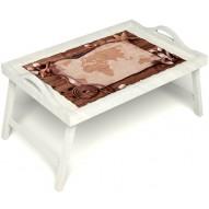 Столик для завтрака в постель «Русская берёза», «Карта» с ручками цвет белый