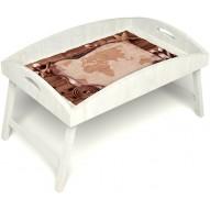 Столик для завтрака в постель «Русская берёза», «Карта» с высоким бортиком цвет белый