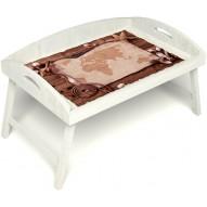Столик для завтрака в постель «Русская берёза», «Карта» с 3-мя высокими бортиками цвет белый