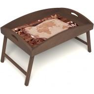 Столик для завтрака в постель «Карта» с высоким бортиком цвет орех