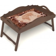 Столик для завтрака в постель «Карта» с фигурным бортиком цвет орех