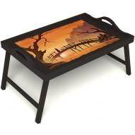 Столик для завтрака в постель «Путь к себе» с ручками цвет венге