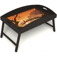 Столик для завтрака в постель «Русская берёза», «Путь к себе» с высоким бортиком цвет венге
