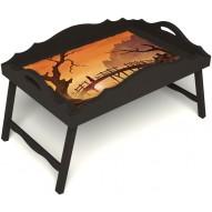 Столик для завтрака в постель «Путь к себе» с фигурным бортиком цвет венге