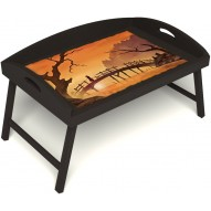 Столик для завтрака в постель «Русская берёза», «Путь к себе» с 3-мя высокими бортиками цвет венге