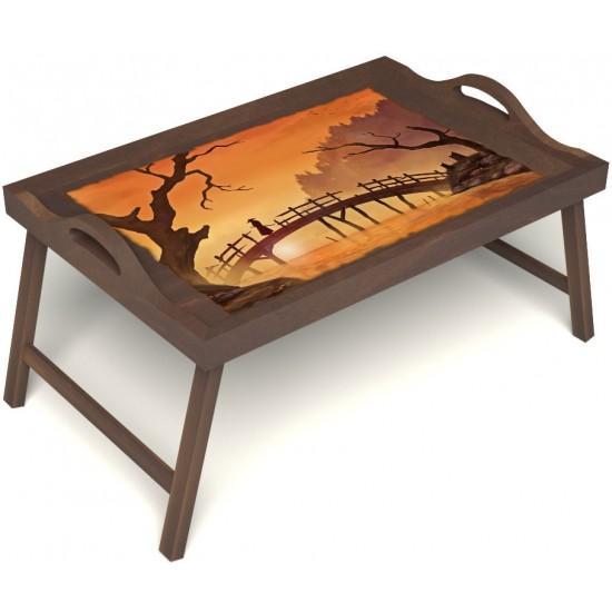 Столик для завтрака в постель «Путь к себе» с ручками цвет орех