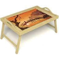 Столик для завтрака в постель «Русская берёза», «Путь к себе» с ручками цвет светлый