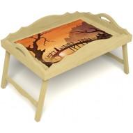 Столик для завтрака в постель «Русская берёза», «Путь к себе» с фигурным бортиком цвет светлый