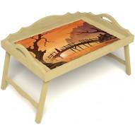 Столик для завтрака в постель «Русская берёза», «Путь к себе» с 3-мя фигурными бортиками цвет светлый