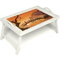 Столик для завтрака в постель «Русская берёза», «Путь к себе» с ручками цвет белый