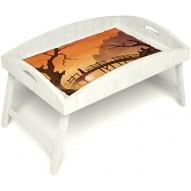 Столик для завтрака в постель «Русская берёза», «Путь к себе» с высоким бортиком цвет белый