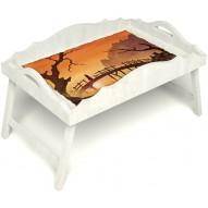 Столик для завтрака в постель «Русская берёза», «Путь к себе» с фигурным бортиком цвет белый