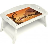 Столик для завтрака в постель «Русская берёза», «Путь к себе» с 3-мя высокими бортиками цвет белый