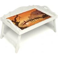 Столик для завтрака в постель «Русская берёза», «Путь к себе» с 3-мя фигурными бортиками цвет белый