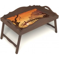 Столик для завтрака в постель «Путь к себе» с фигурным бортиком цвет орех