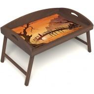 Столик для завтрака в постель «Русская берёза», «Путь к себе» с 3-мя высокими бортиками цвет орех