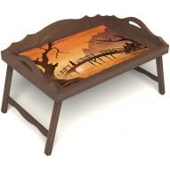 Столик для завтрака в постель «Русская берёза», «Путь к себе» с 3-мя фигурными бортиками цвет орех