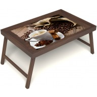 Столик для завтрака в постель «Русская берёза», «Ароматный кофе» без ручек цвет орех