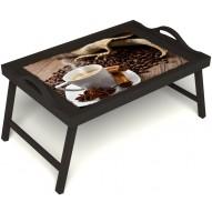 Столик для завтрака в постель «Ароматный кофе» с ручками цвет венге