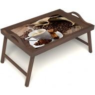 Столик для завтрака в постель «Ароматный кофе» с ручками цвет орех