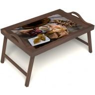Столик для завтрака в постель «Дело в шляпе» с ручками цвет орех