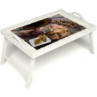 Столик для завтрака в постель «Дело в шляпе» с ручками цвет белый
