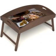 Столик для завтрака в постель «Дело в шляпе» с высоким бортиком цвет орех